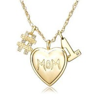 "18K Yellow Gold over Sterling Silver Diamond ""#1 Mom"" Necklace, 18"""