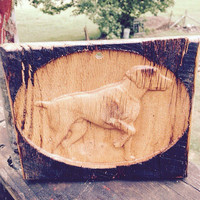 Labador Water Dog carved in Wood