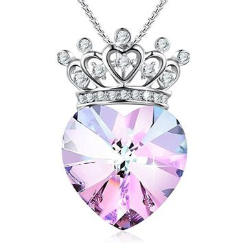 """Young Princess""Crown Pendant Necklace Heart Shaped Birthday Wedding Gifts for Girlfriend Daughter,Amethyst Crystals"