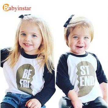Family Look T-Shirt Boy Girl Long Sleeve Tops Tees Best Friend Clothes Family Matching Outfits For Kid New 2016 Children T-Shirt