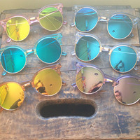 Oversized Round Cat Eye Flat Lens Sunglasses Crystal Clubmaster Mirrored Glasses - Alyssa