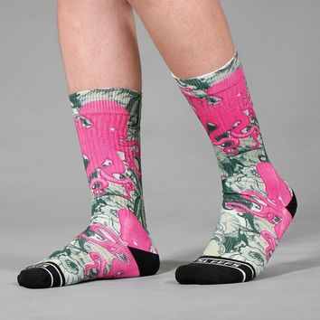 Kraken Octopus Pink Green Soft Socks