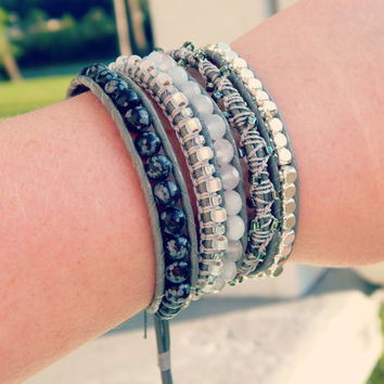 Black and White Gemstone and Macrame Color block 5x Wrap bracelet with lucky elephant button clasp