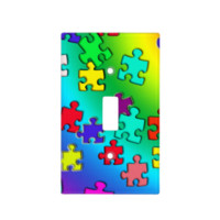 Multicolored puzzles switch plate cover