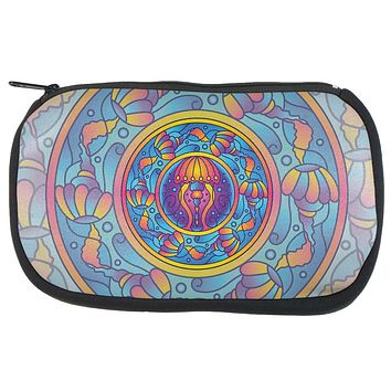 Mandala Trippy Stained Glass Jellyfish Makeup Bag