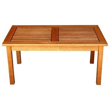 Outdoor Indoor Solid Wood Patio Coffee Table in Natural Finish