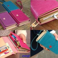 Envelope Card Wallet Leather Purse Case Cover For Samsung Galaxy S2 S3 S4 i9500