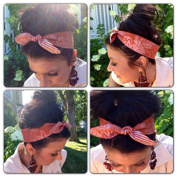 Dolly Bow Tie Up Headscarf Headband Bandana - Hair Accessory Boho Head Wrap -Rockabilly Head Band - Reversible - Pink Green Preppy Scarf