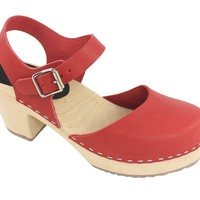 Lotta From Stockholm Classic High Heel Covered Mary Jane Style Clogs From Lotta in Waxed Red Leather