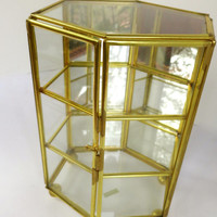 Small Brass Curio Cabinet Hexagon