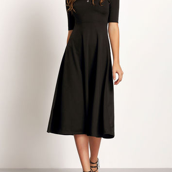 Black Boat Neck Short Sleeve Slim Dress