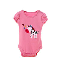 Baby Organic Pure Cotton Summer Short Sleeve Bodysuit to 12M Elephant Pink