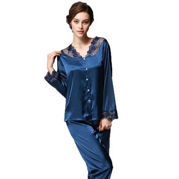 New Women Winter Pajamas Set Satin Silk Pyjamas Nightwear Pijama Ladies Long Sleeve V neck kigurumi bathrobe Sexy sleepwear