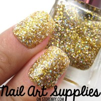 Gold Rush - Bright Gold and Silver Fine Glitter Nail Polish 16ml from nailartsupplies