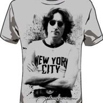 SALE John Lennon New York City light Grey Shirt Size Small Large XL 2XL