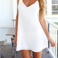 SIMPLE - Women Lace Floral White Backless Sleeveless V Neck One Piece Dress b4019