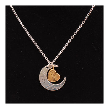 X329 love Valentine's Day love couple of European and American moon necklace ebay jewelry supply   BROTHER SILVER