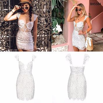 BH5584 White Party Dress