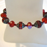 Garnet Red Czech Glass Bracelet