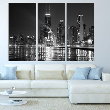 LARGE wall ART Canvas Print, Chicago Skyline wall Art,  Extra Large canvas art Chicago canvas Print, city skyline fine art print  t220