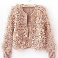 Pink Long Sleeve British Style Loose Korean Style Sequins Women Knitting Cardigans One Size @WH0373p $21.99 only in eFexcity.com.