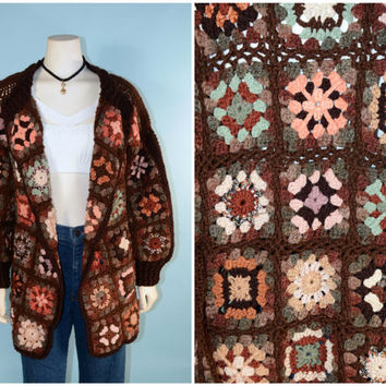 Vintage 70s Granny Square Cardigan Sweater, Crochet Bohemian Hippie Belted Sweater, Cozy Chunky Hipster Grunge Knit Sweater Jacket L
