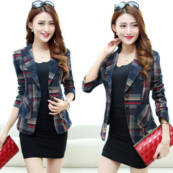 Long Sleeve 2016 Plaid Cape Blazer Suit Women Blazers Formal Jackets Bleiser Femenino Casual Plaid Coats Americanas Mujer Blaser