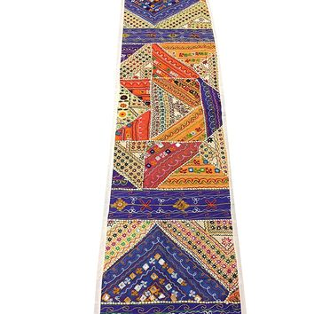Mogul Cotton Kutch Table Runner Embroidered Sequin Patchwork Wall Hanging