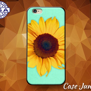 Mint Blue Sunflower Flower Cute Tumblr Inspired Rubber Custom Case For iPhone 4 and 4s and iPhone 5 and 5s and 5c and iPhone 6 and 6 Plus +