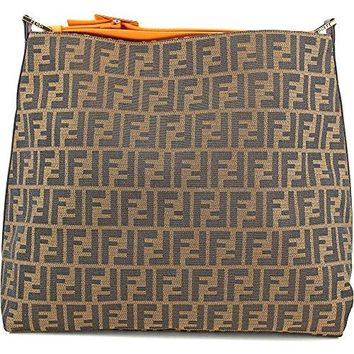 Fendi Handbag Large Zucca Orange Leather Brown Jacquard Hobo Shoulder Bag 8BR653
