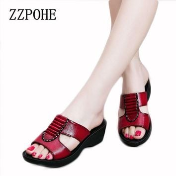 ZZPOHE Summer new mother slippers fashion ladies slippers soft and comfortable casual