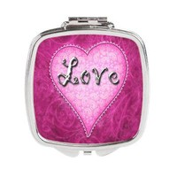 Pink Love Heart Square Compact Mirror> Pink Love Heart> Accessorize Me
