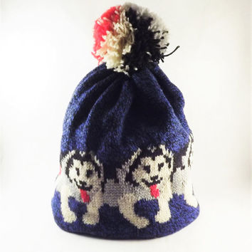 Vintage LL Bean Husky Dog Hat, Vintage Wool Knitted Stocking Cap, Tassel Pom Pom Beanie Hat