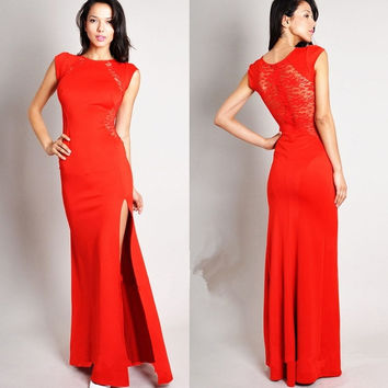 Women S-4XL Plus size Lace Evening party Long Dresses Black summer 2014 Bodycon Split Red brief Dress vestidos de fiesta Gowns = 1958682500