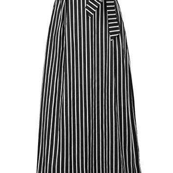 Women, Bow Tie Striped Print Vacation Skirts