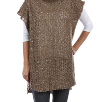 Khaki Turtle Neck Knit Poncho