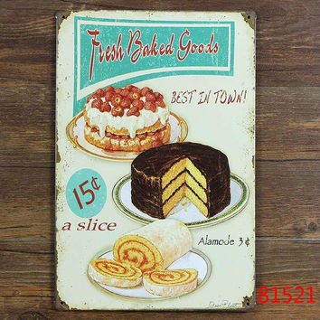 vintage metal poster Retro Shabby chic Fresh Baked goods kitchen Tin sign wall plaque