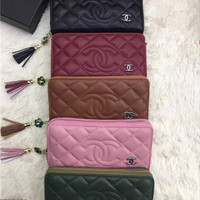 """""""Chanel"""" Fashion Quilted Letter Long Section Tassel Zip Wallet Clutch Women Solid Color Multifunction Purse"""
