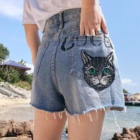 Gucci Summer Woman Cute Cat Letter Print Embroidery Jeans Shorts