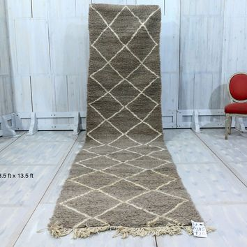 "Long Gray moroccan wool rug 3'5""x 13'5"""