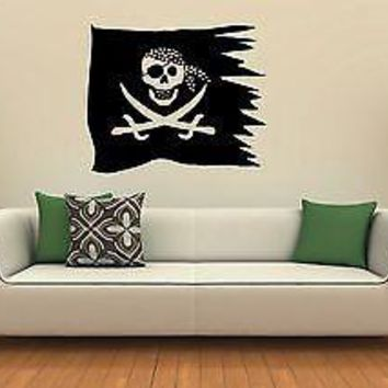 Wall Stickers Vinyl Decal Nursery Pirate Flag Jolly Roger for Kids Unique Gift ig1312