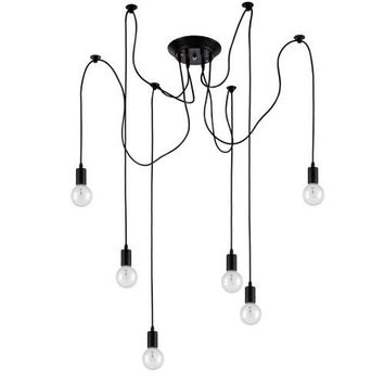Edison Pendant Light Chandelier 6 Pendants - Bulbs Included, Matte Black