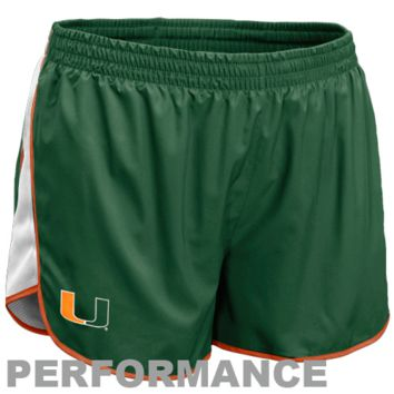 Nike Miami Hurricanes Youth Girls Tempo Performance Shorts - Green - http://www.shareasale.com/m-pr.cfm?merchantID=7124&userID=1042934&productID=528450677 / Miami Hurricanes