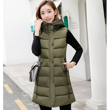 Womens Army Green High Collar Hooded Puffer Winter Vest