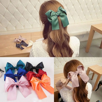 Hot Sale Womens Multicolor Satin Ribbon Bow Hair Clips Barrette Ponytail Holder = 1706376964