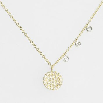 Women's MeiraT 'Dazzling' Diamond Disc Pendant Necklace
