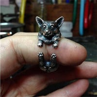 Vintage Silver Black Bronze Boho Chic Welsh Corgi Dog Ring Animal English Dog Ring Hippie Brass Knuckles Rings