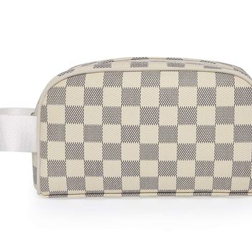 Miracle Premium Checkered Cosmetic Toiletry Bag | Make Up Travel Bag for Men Women | PU Vegan Leather (Cream)