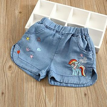 Hot Shorts DOSOMA girls denim  children cartoon embroidery girl short jeans trousers summer elastic waist kids teens clothesAT_43_3