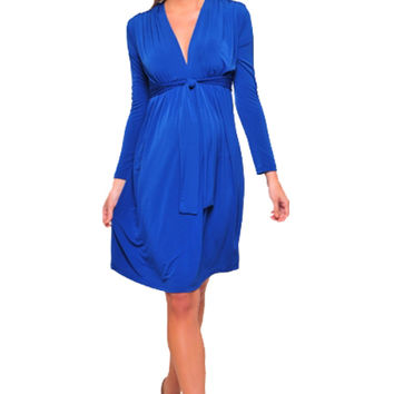 Olian Kora Long Sleeve Front Tie Maternity And Nursing Dress